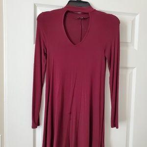 Cute burgundy cut-out long sleeve t-shirt dress